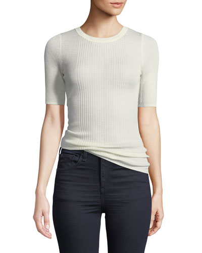 Rib-Knit Short-Sleeve Top