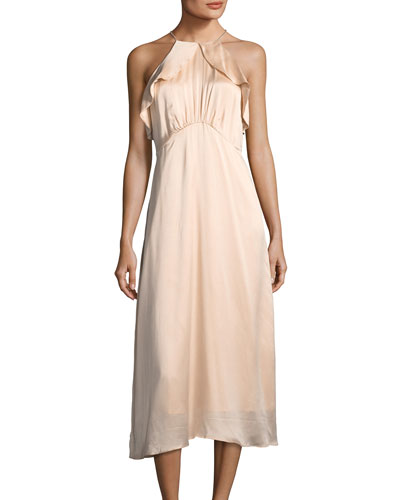 High-Neck Sleeveless A-Line Midi Dress