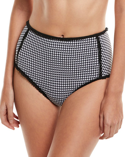 Mixed-Gingham High-Waist Bikini Swim Bottoms