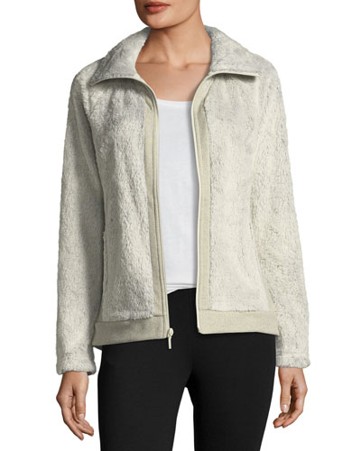 Fuzzy Fleece Zip-Front Long-Sleeve Jacket, Ivory
