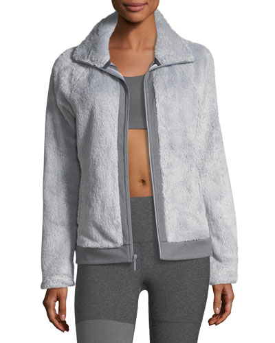 Fuzzy Fleece Zip-Front Long-Sleeve Jacket, Gray