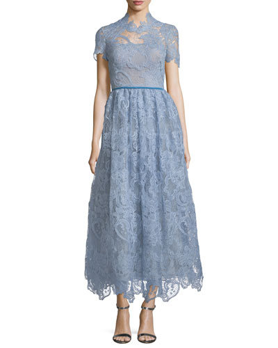 High-Neck Lace Tea-Length Dress