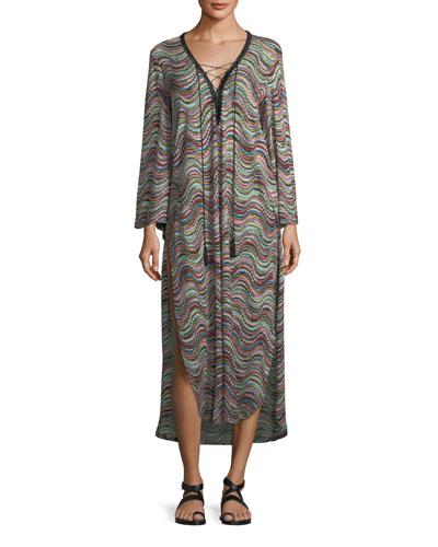 Long-Sleeve Lace-Up Side-Slit Beach Dress