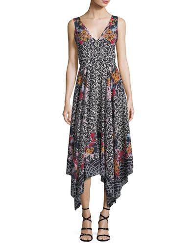 Zuri V-Neck Sleeveless Printed Silk Dress