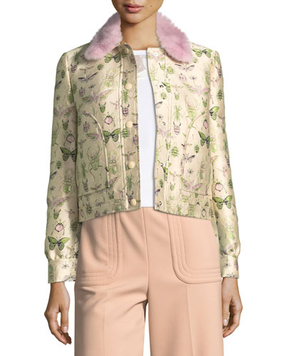 Insect-Print Brocade Jacket