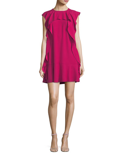 Ruffle-Front Crepe Shift Dress