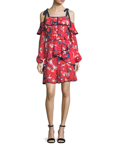 Doralee Tulip-Print Cold-Shoulder Tiered Dress