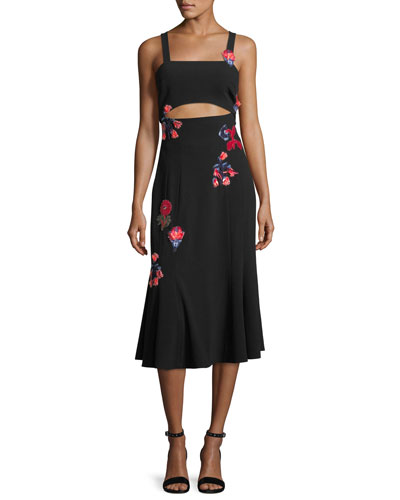 Olivia Sleeveless Floral-Embroidered Crepe Midi Dress