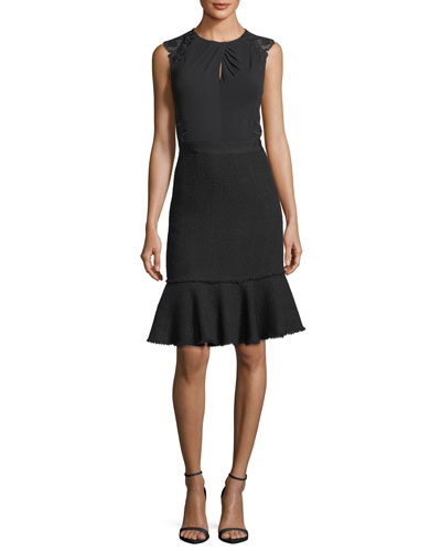 Sleeveless Tweed Lace-Back Sheath Dress
