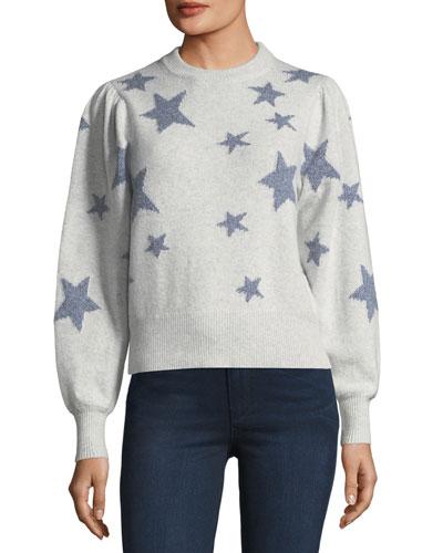 Star-Intarsia Floral-Print Long-Sleeve Satin Blouse