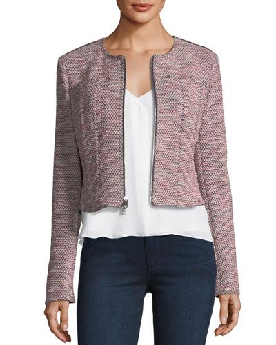 Ualana Z Beacon Tweed Zip-Front Cropped Jacket