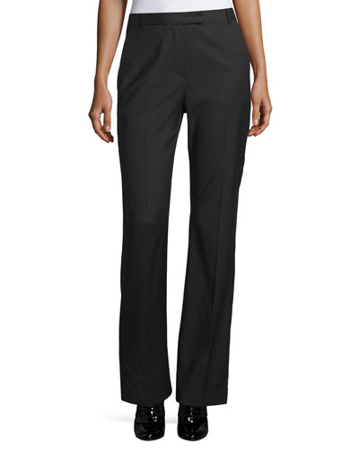 Boot-Cut Stove Pipe Trousers, Black