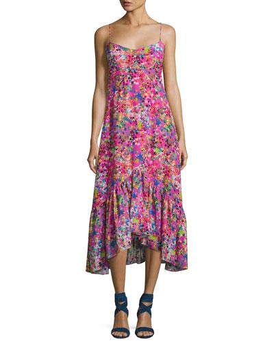 Inga Floral-Print Sleeveless Midi Dress