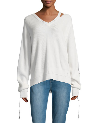 V-Neck Long-Sleeve Cotton-Cashmere Rib-Knit Sweater
