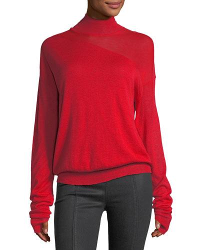 Turtleneck Wool-Silk Sweater