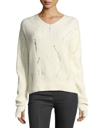 V-Neck Drop-Needle Wool Sweater