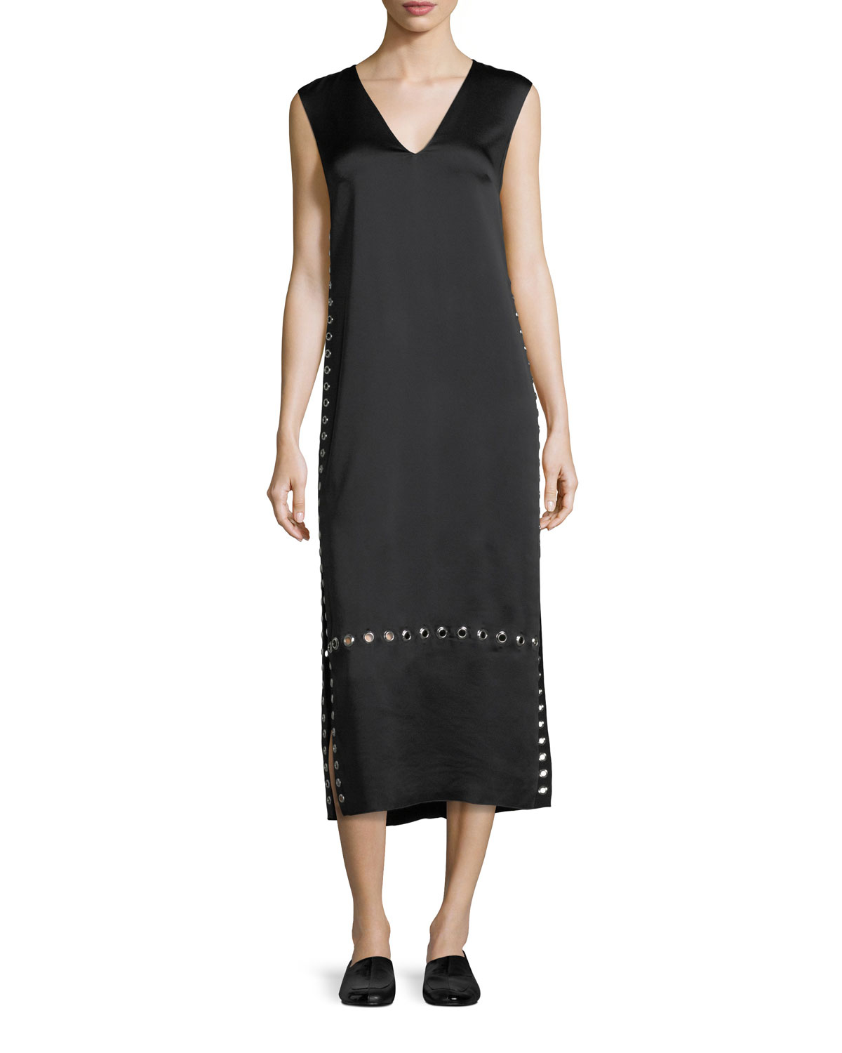 Leigh Grommet-Trim V-Neck Dress