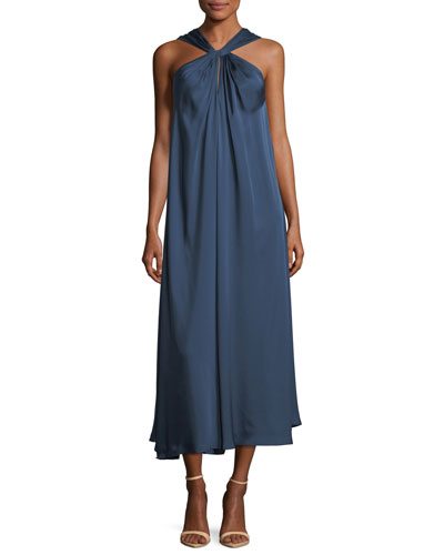Cavan Twist-Front A-Line Satin Long Dress
