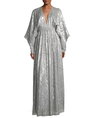 Raquel Deep-V Long-Sleeve Silk-Metallic Long Caftan Dress