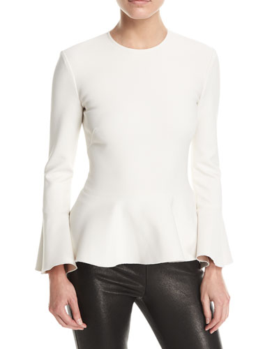 Ruthe Crewneck Long-Sleeve Bonded Peplum Top