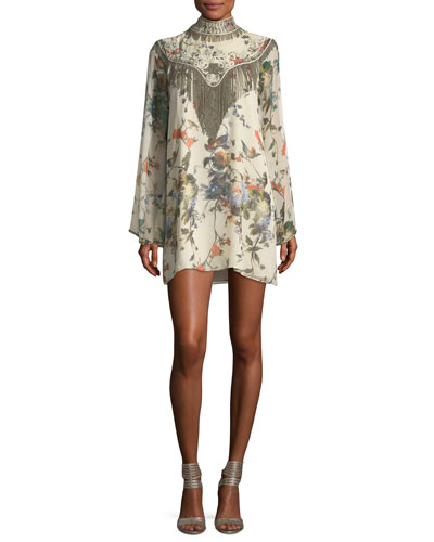 Through The Looking Glass Bell-Sleeve Floral-Print Silk Dress