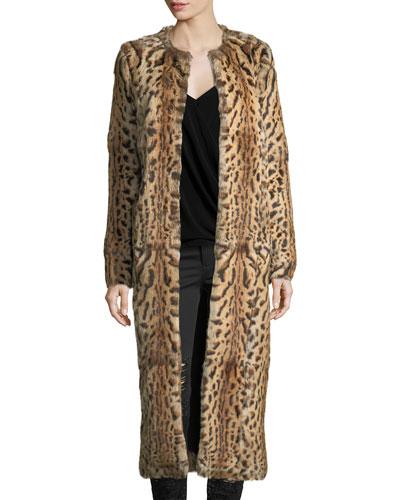 Leopard-Print Rabbit Fur Long Coat