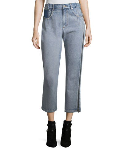 Straight-Leg Cropped Jeans with Side Zipper Detail