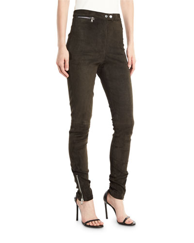 High-Waist Stretch-Suede Leggings with Ankle-Zip