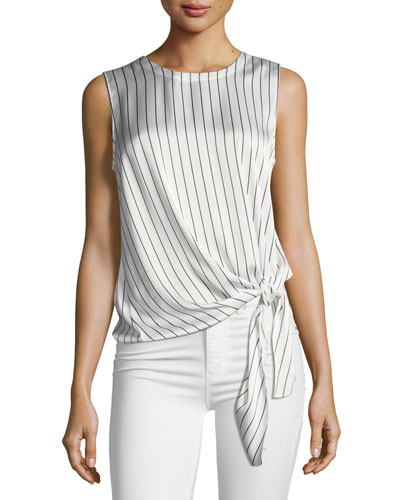 Serah Striped Crushed Satin Top