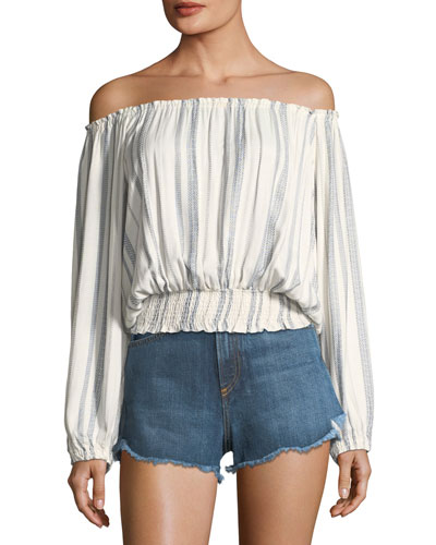 Adriana Off-the-Shoulder Striped Blouson Top