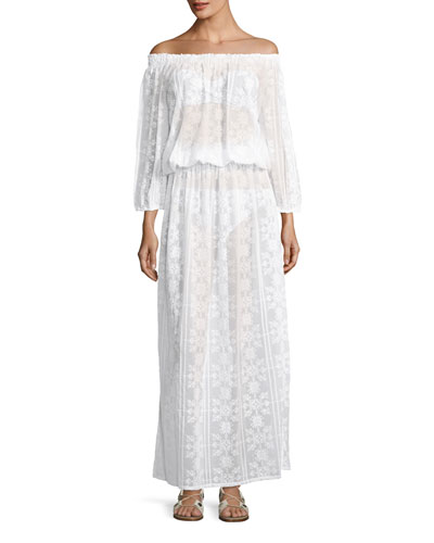 Olivia Off-the-Shoulder Lace Maxi Dress, One Size
