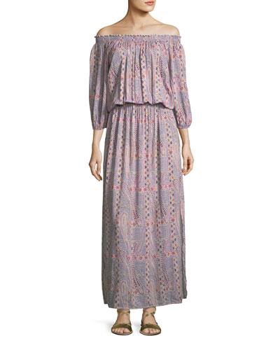 Faith Paisley Peasant Dress, One Size