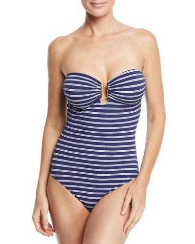 Argentina Striped One-Piece Bandeau Swimsuit