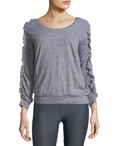 Ruffled Long-Sleeve Scoop-Neck Pullover Top