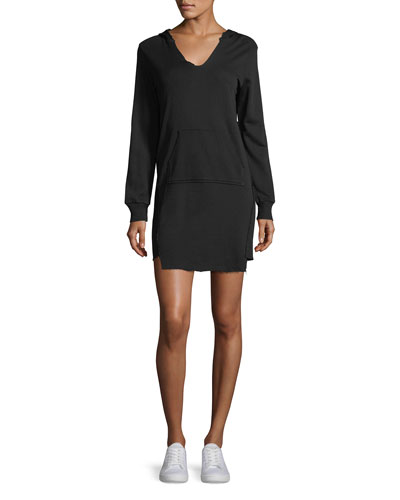 V-Neck Hooded French Terry Mini Sweatshirt Dress