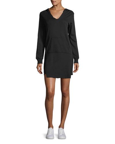 V-Neck Hooded French Terry Mini Sweatshirt Dress