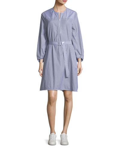 Eva P Mixed-Stripe Belted Dress
