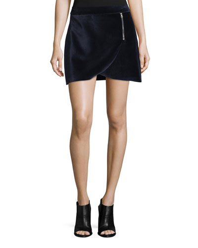 A-Line Mini Velvet Tulip Skirt