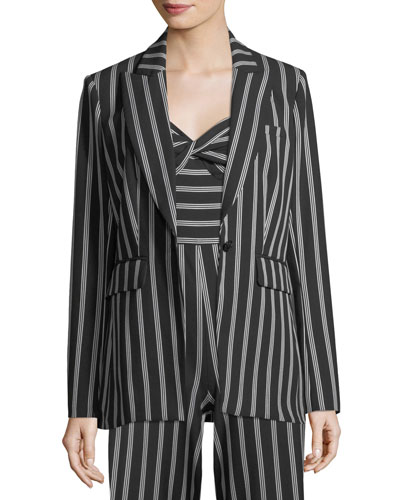 Petra Striped One-Button Jacket