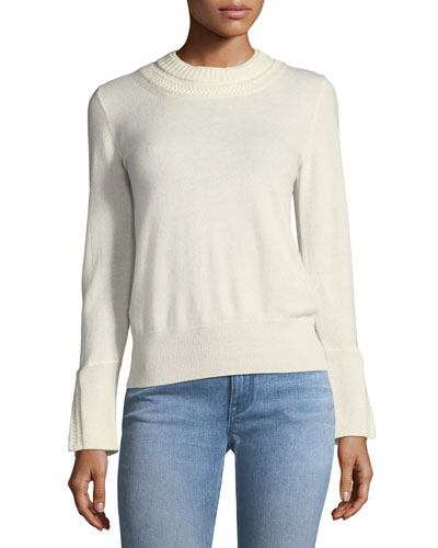 Festive Cashmere Crewneck Sweater, Antique White