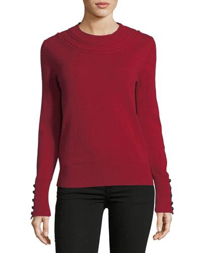 Festive Cashmere Crewneck Sweater, Red