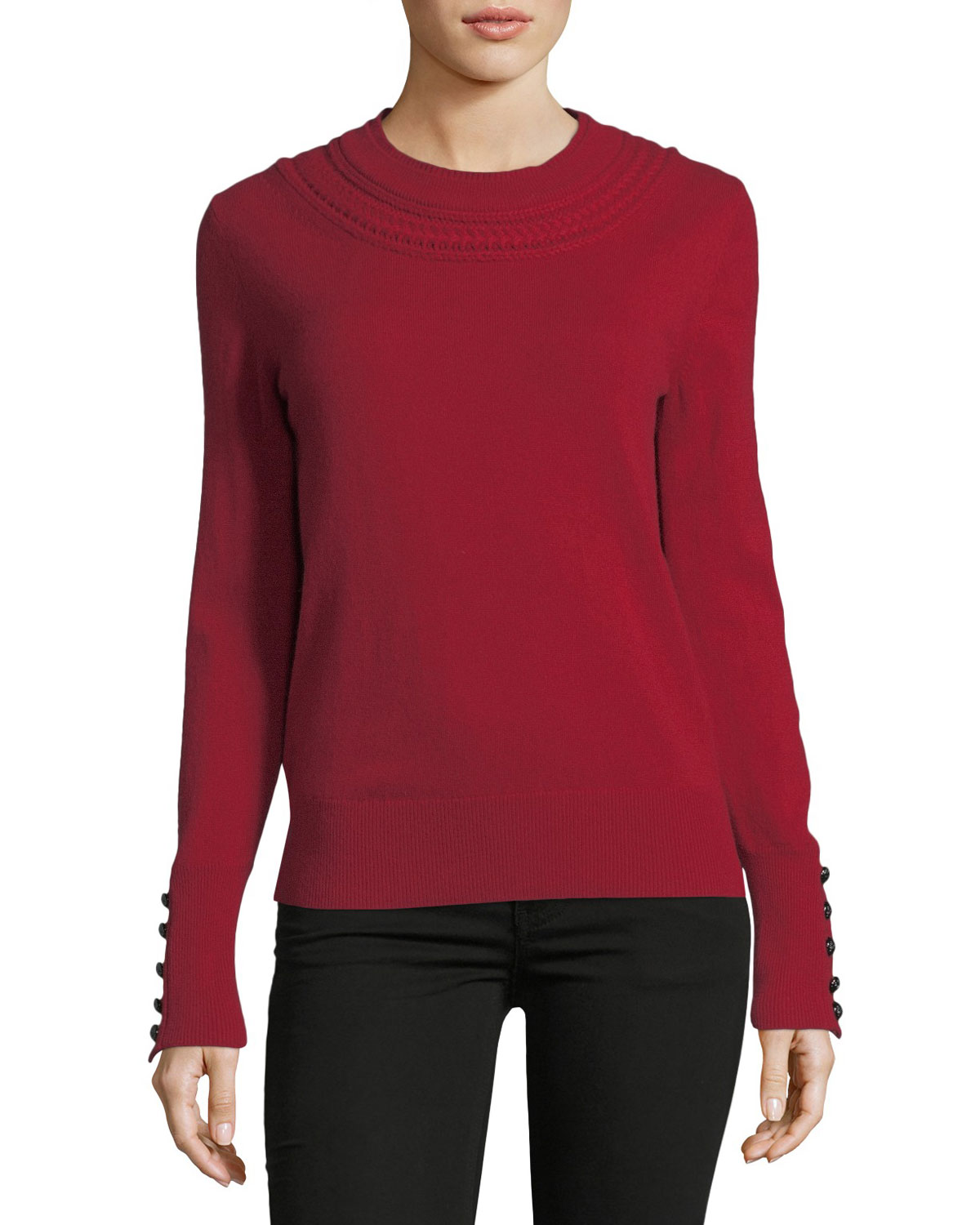 Festive Cashmere Crewneck Sweater, Red