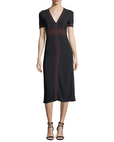 Short-Sleeve V-Neck Midi Dress