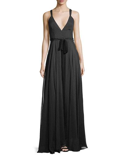 Monroe Silk Polka-Dot Self-Tie Gown