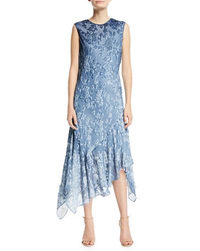 Marnie Floral Asymmetric-Hem Dress