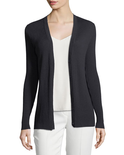Modern Rib-Knit Button-Front Cardigan