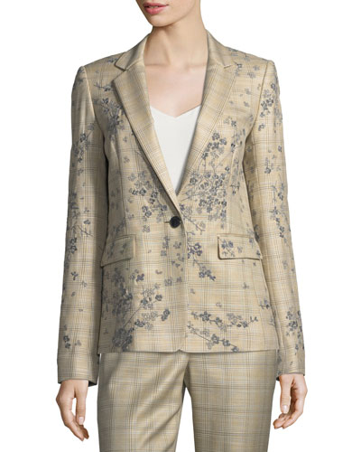 Lydon One-Button Plaid Floral-Embroidered Jacket