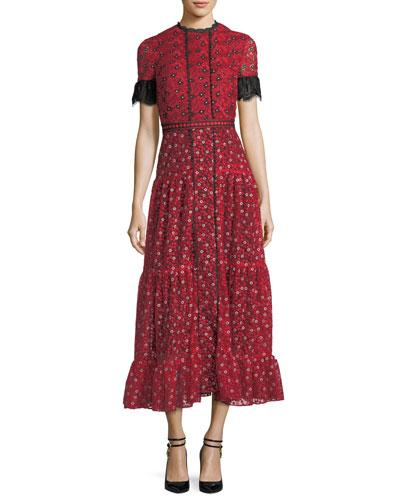 Andie High-Neck Short-Sleeve Floral-Print Long Dress