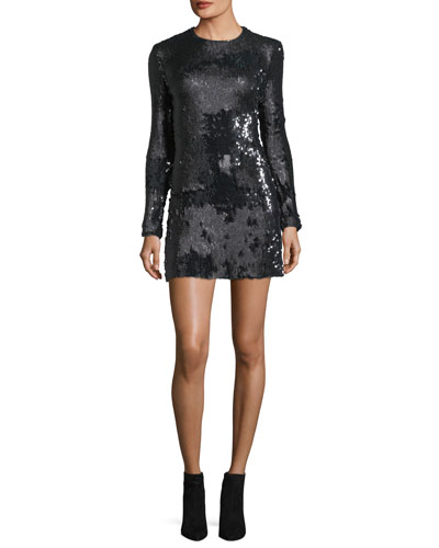 Siggy Jewel-Neck Long-Sleeve Sequined Mini Dress