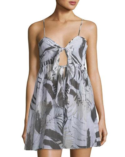 Sadie Tie-Front Printed Silk Coverup Dress